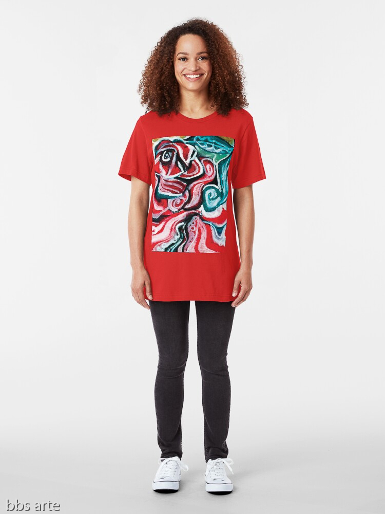 xmas woman t shirt with Christmas colors abstract image in tones of red green, white, black and yellow