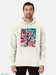 pullover hoodie for man with Christmas colors abstract image in tones of red green, white, black and yellow
