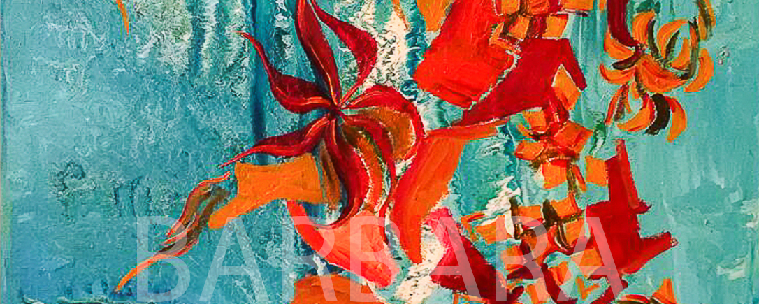 Corals abstract painting with bright orange and red floating shapes on watery like enamel background with blue and white fluid shades