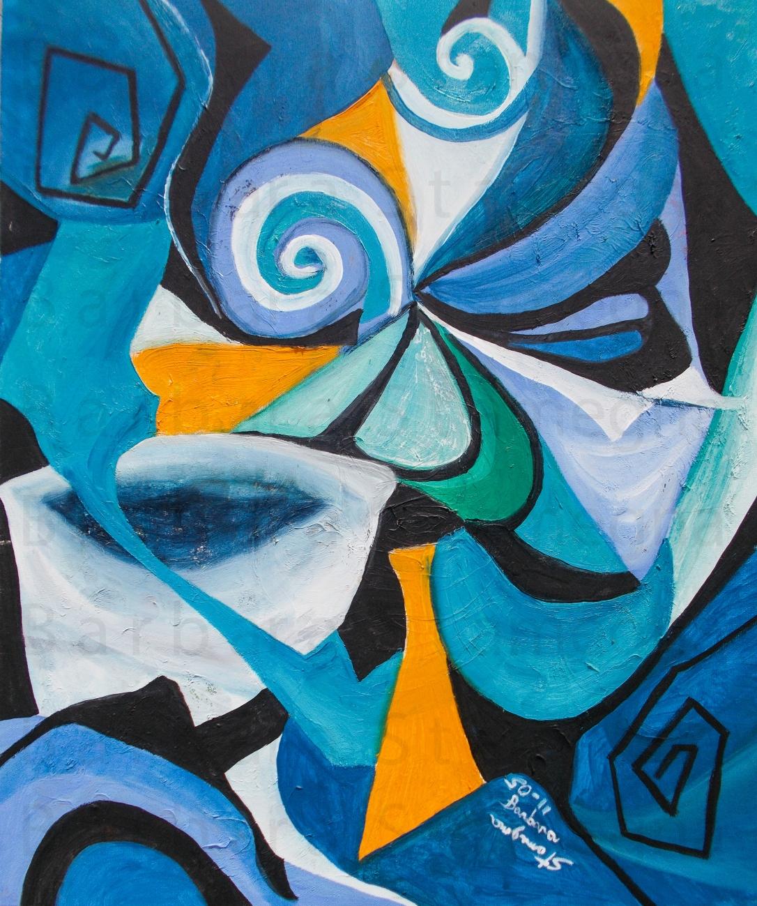 Blue Mood Sensation Abstract original painting made by Barbara Stamegna