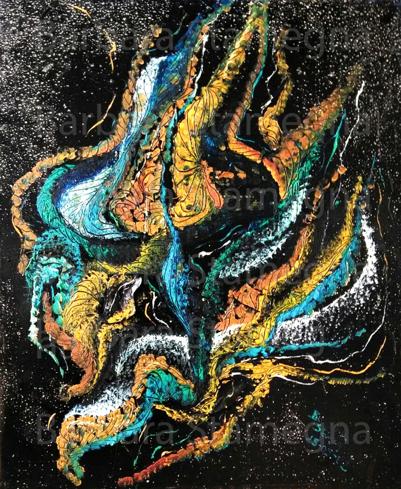 Light Blue Flames abstract painting made by Barbara Stamegna